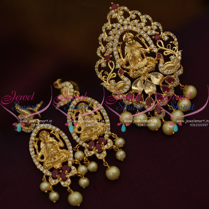 Ps9495 light gold plated temple jewellery ruby white traditional ps9495 light gold plated temple jewellery ruby white traditional pendant set online mozeypictures Choice Image