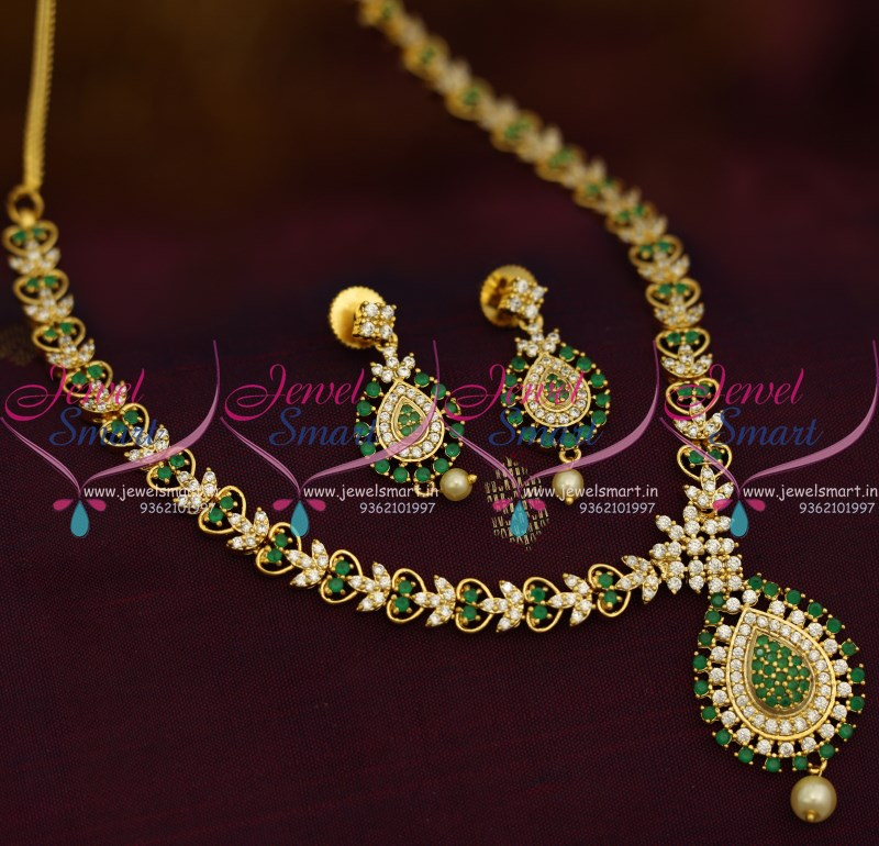 NL9414 Simple Thin Green White Stones Gold Design Gold Plated ...