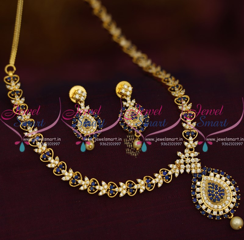 NL9415 Simple Thin Blue White Stones Gold Design Gold Plated ...