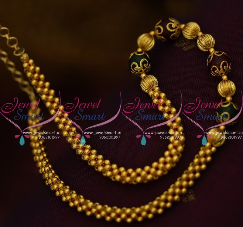 Nl9646 Gold Colour Beaded Jali Mala Red Green Combination