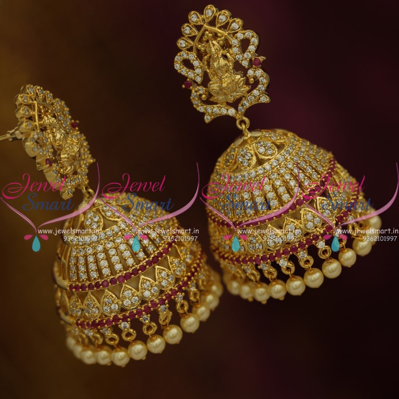 0c1a9d137 J9780 Big Size Temple Ruby White Jhumka Earrings Pearl Drops Latest Fashion  Jewellery Online