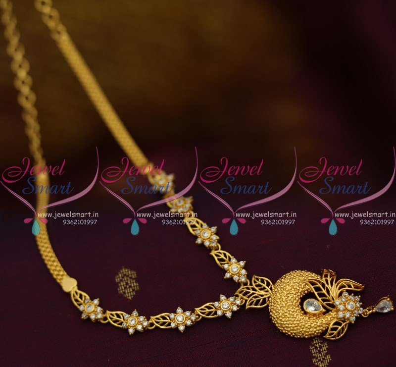 NL10005 AD White Stones Floral Casting Gold Design South Indian