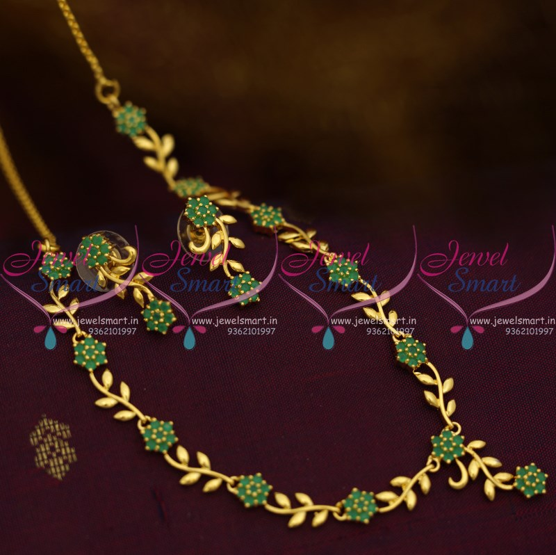 NL10263 Simple Leaf Floral Design Emerald Green Stones Gold Plated ...