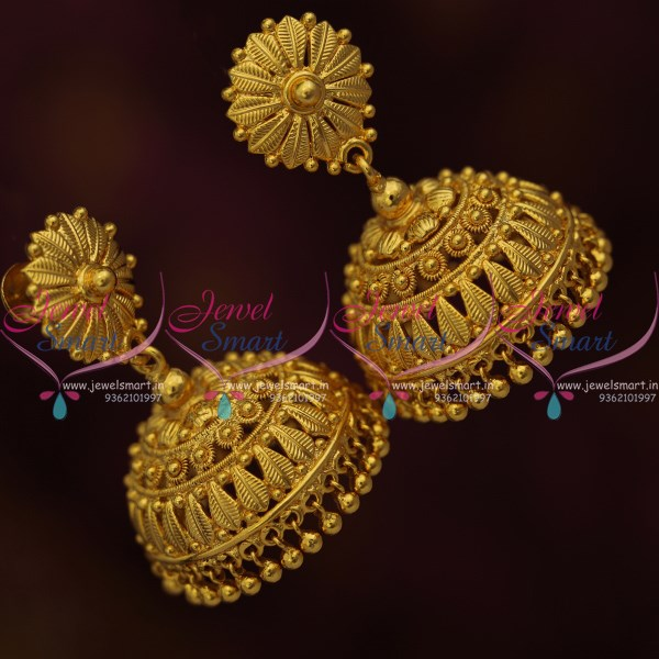 J10176 Big Size South Indian Screw Lock Jhumka Earrings