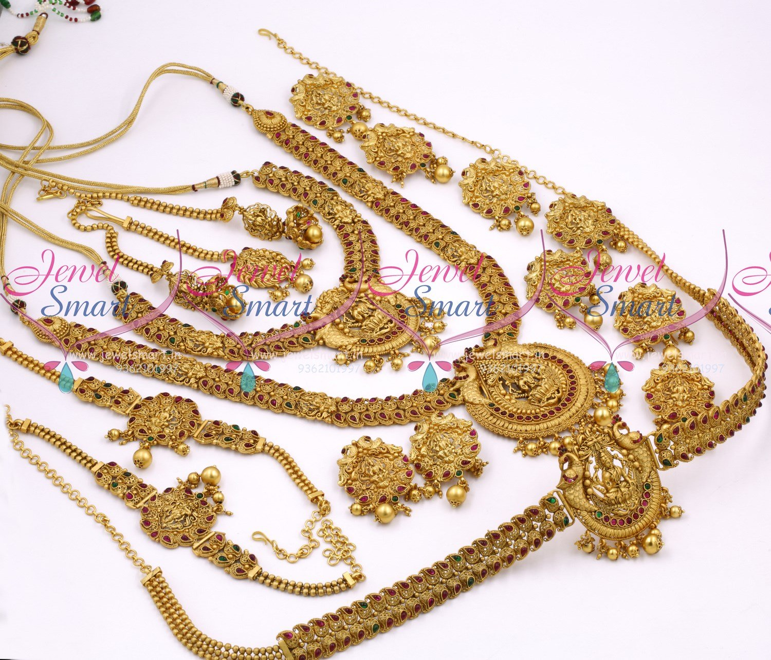 BR10358 Antique Bridal Matte Temple Nakshi South Indian Gold ...