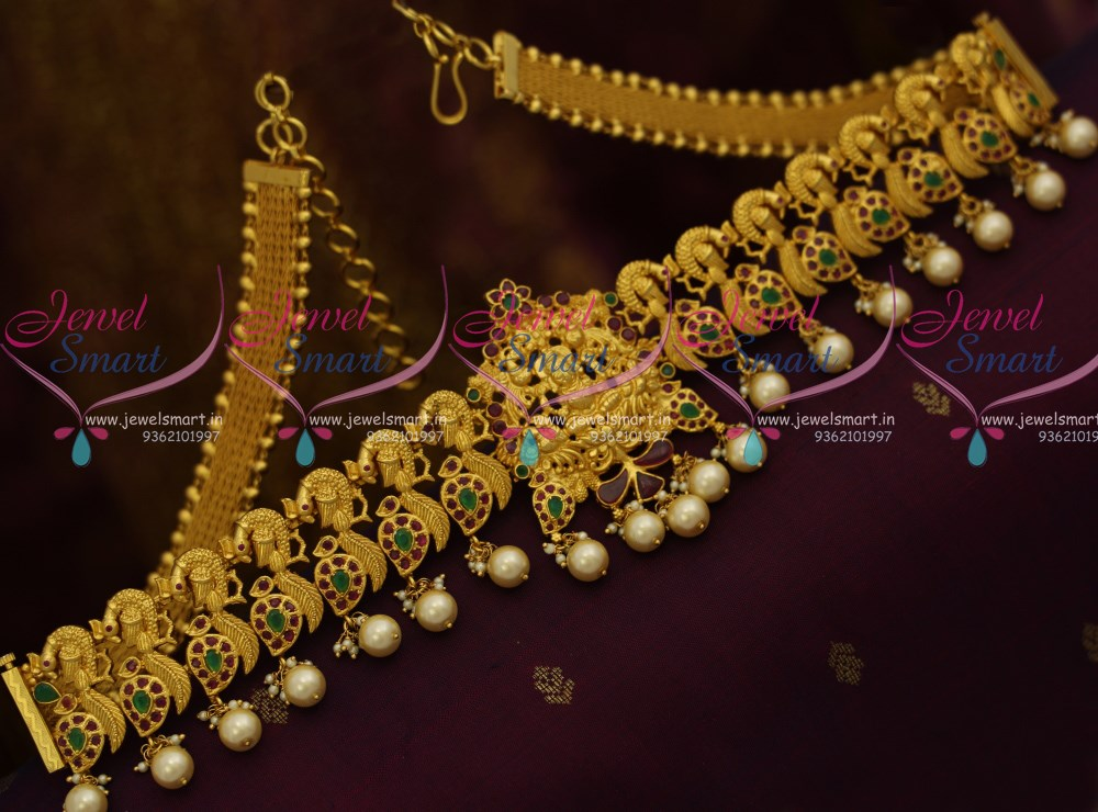 H10447 One Gram Gold Plated Temple Nakshi Vaddanam Flexible Belt 32 Inches Traditional Wedding