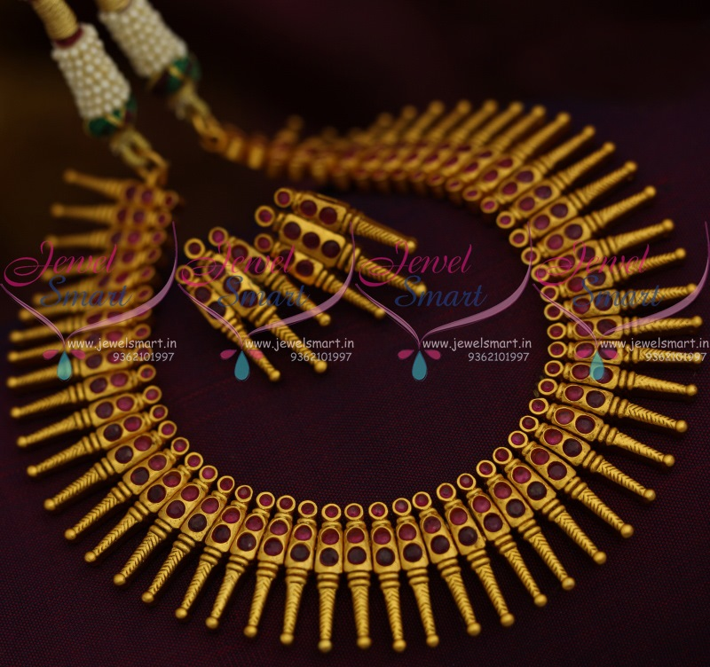 d764b0f668 NL11127 Ruby Red Kerala Style Design Matte Dull Gold Plated Fancy Jewellery  Set Online