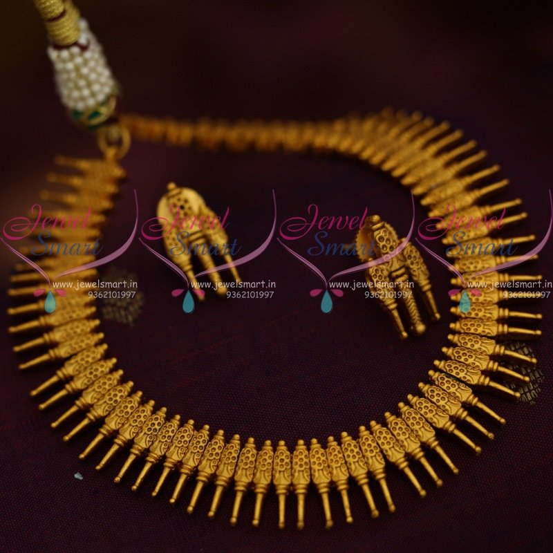 347feb5b48 Small Size Kerala Style Design Matte Dull Gold Plated Fancy Jewellery Set  Online