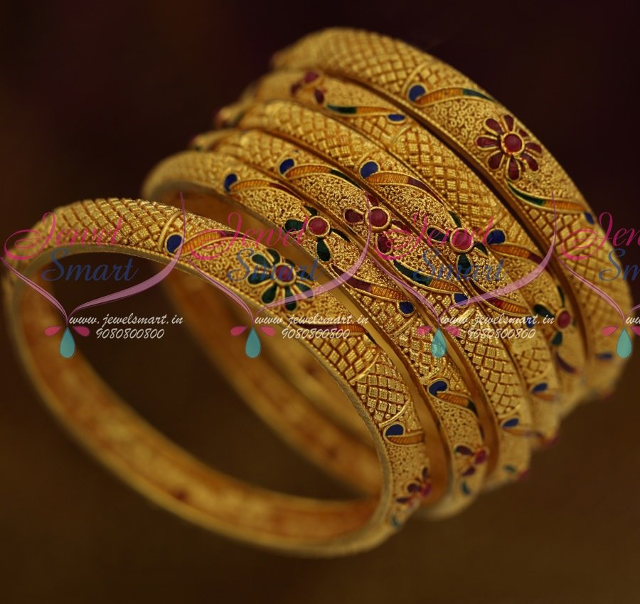 B9316 One Gram Forming Gold Gheru Plated 6 Pieces Set Bangles ...