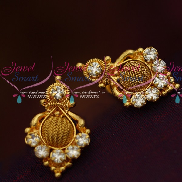 Er11398 South Indian White Ad Jewellery Matching Daily