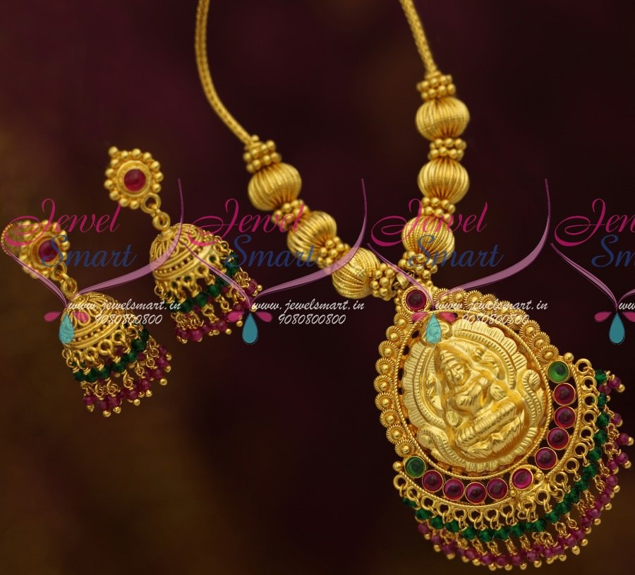 NL11387 Kemp Red Green Double Step Crystal Hangings Jhumka Handmade Temple  Jewellery Online
