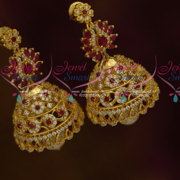 7ce7a8192 J11459 Big Heavy Floral Design AD Red White Stones Jhumka Latest Fashion  Jewellery Online
