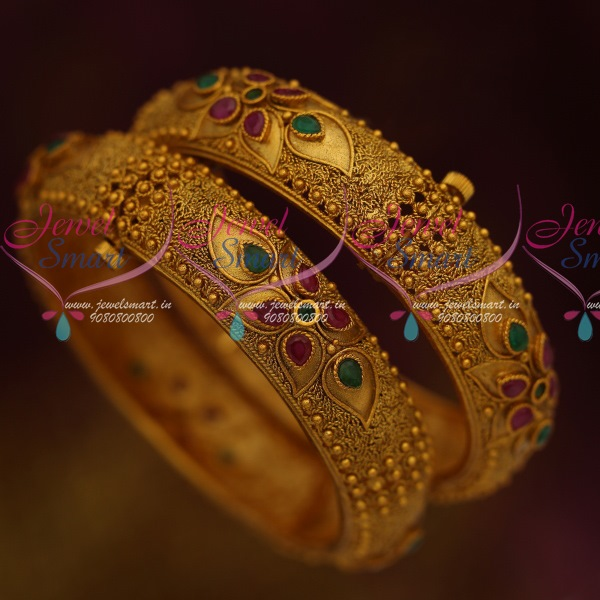 B11467 Screw Open Broad Matte Antique Bangles South Indian