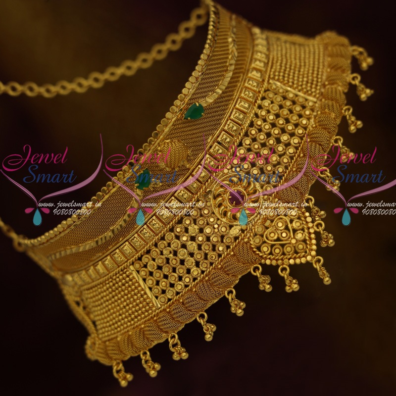7ff4b1048 Gold Plated Jewellery Stiff Fixed Casting Design Broad Bridal Low Price  South Indian Collections Online