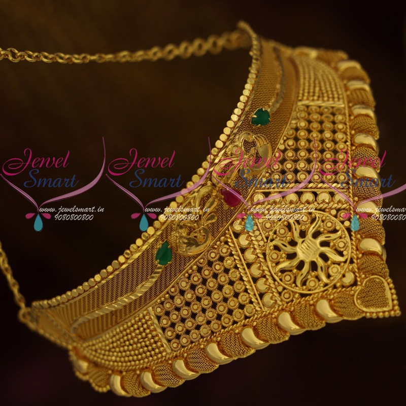 Indian Gold Jewellery Necklace Designs With Price: NL11639 Gold Plated Jewellery V Shaped Fixed Casting