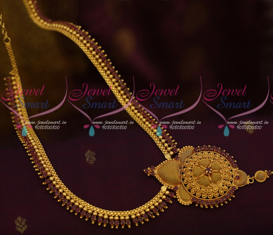 NL Beads Design Ruby Stones Gold Covering South Indian