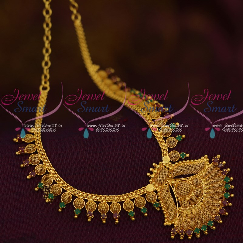 7cad58456 NL12246 Emboss Woven Design AD Red Green Short Necklace South Indian  Jewellery Designs Shop Online