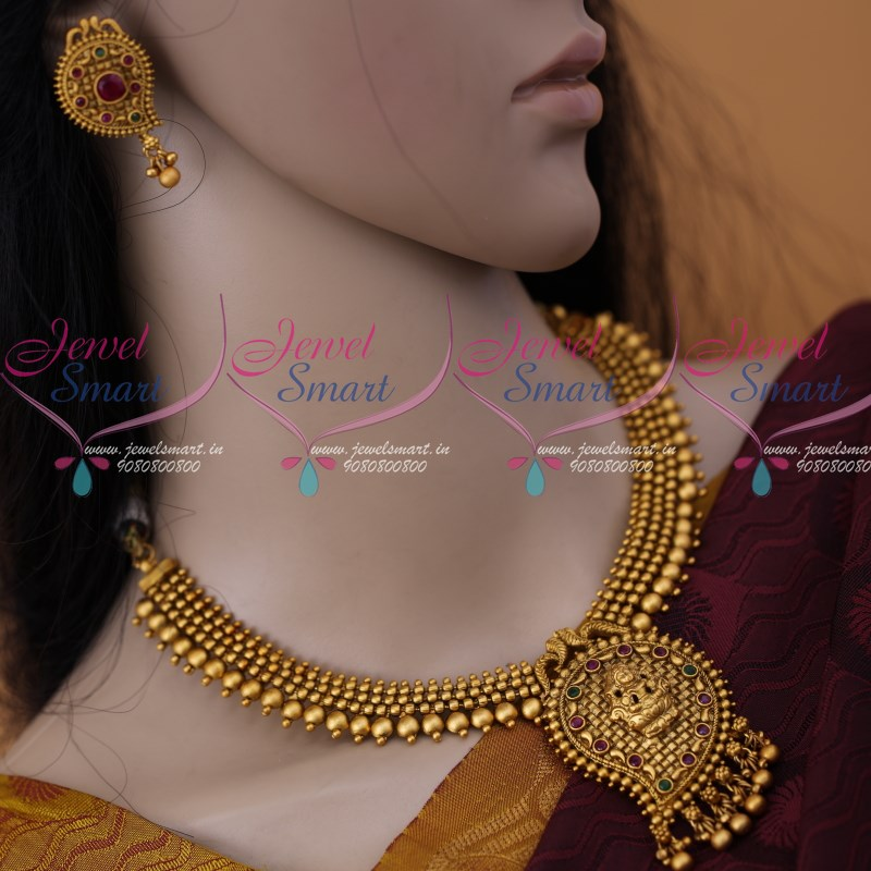 NL12315 Mango Design Temple Pendant Beads Necklace Matte Gold Antique  Jewellery Collections Online
