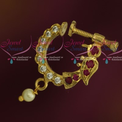 N12228 Ruby Stones Peacock Design Nose Pins Non Piercing Type Latest  Fashion Jewellery Screw Press