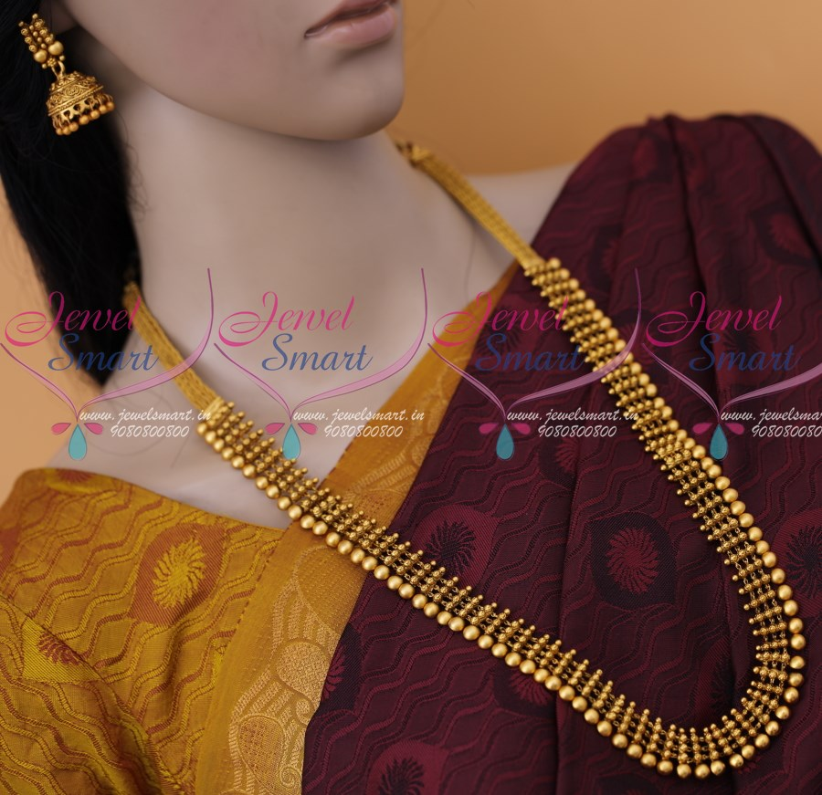 Nl12279 Antique Matte Gold Plated Kerala Style Haram