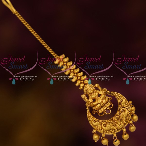 T12522 Temple Jewellery Matching Matte Gold Finish Maang