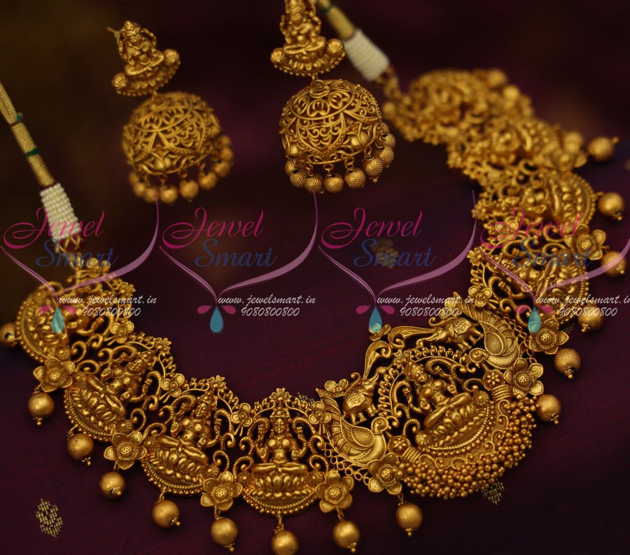 NL12714 Big Broad Temple Jewellery Antique Matte Gold Latest Traditional  Jhumka Earrings Shop Online