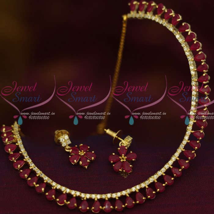 NL12832R Ruby Red Colour AD Stones Thin Delicate Jewellery Set Low ...