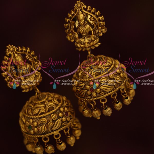 J13032 Temple Jewelry Antique Dull Gold Laxmi Jhumka Earrings Latest  Traditional Designs Shop Online