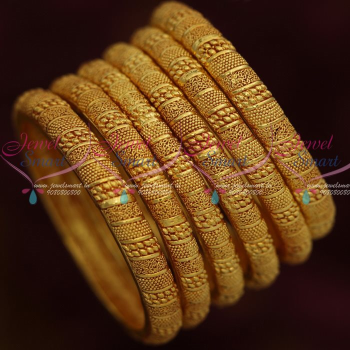 B13007 One Gram Gold Fashion Jewellery 6 Pcs Bangles Set Forming ...