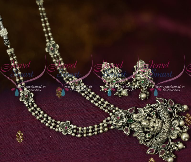 c788799f6 NL12980 Antique Silver Plated Beads Chain Temple Jewellery Pendant  Traditional Blackish Ornaments Shop Online | JewelSmart.in