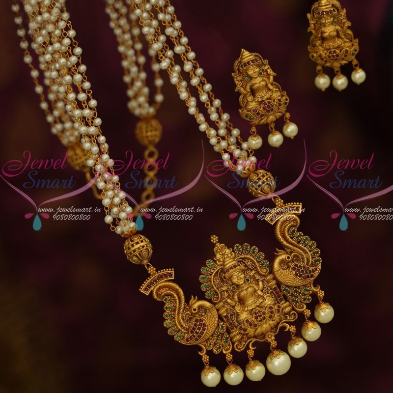 Nl12854 temple jewellery multi strand pearl mala ruby emerald laxmi nl12854 temple jewellery multi strand pearl mala ruby emerald laxmi god pendant gold design exclusive premium collections aloadofball Choice Image