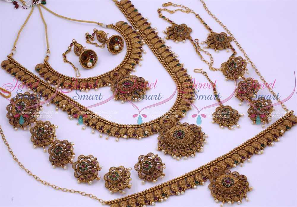 33888a97002c2 BR12599 Antique Bridal Matte Reddish Floral Design South Indian Gold Finish  Wedding Dulhan Jewellery Full Set Latest Collections