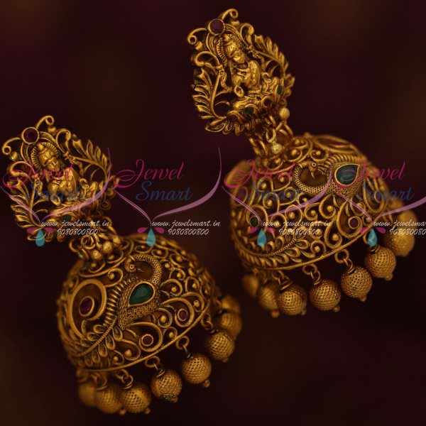 J13377 Temple Jewellery Broad Jhumka Earrings Red Green Stones Party Wear  Collection Online