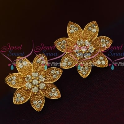 b993055d189be ER13565W White Stones Traditional Gold Design Daily Wear Stone Ear Studs  Semi Precious Online