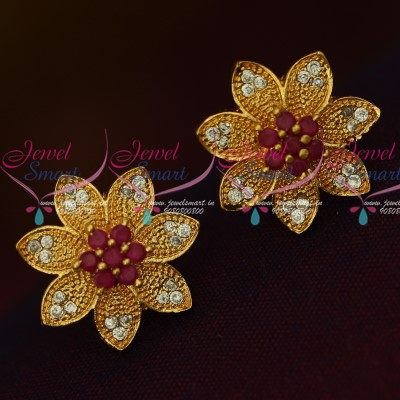 50eaccd30618a ER13565RW Ruby White Stones Traditional Gold Design Daily Wear Stone Ear  Studs Semi Precious Online