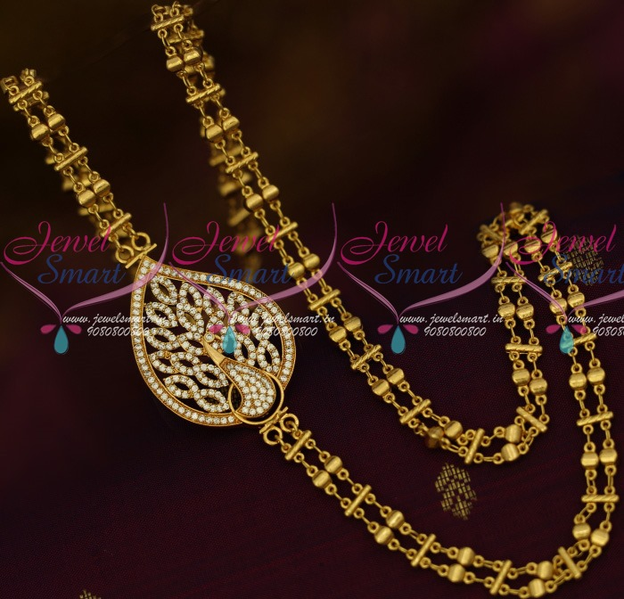 Beautiful South Indian Double Long Necklace Set: C13771W Double Chain Peacock AD Mugappu Latest South