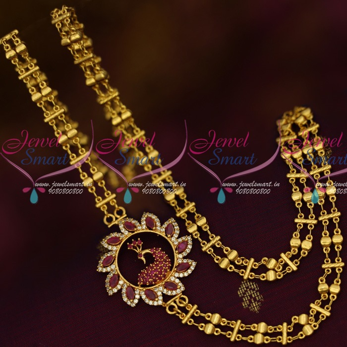 f82a9ccab C13772 Double Chain 24Inches Rettai Vadam Mugappu Gold Plated South Indian  Jewellery Online