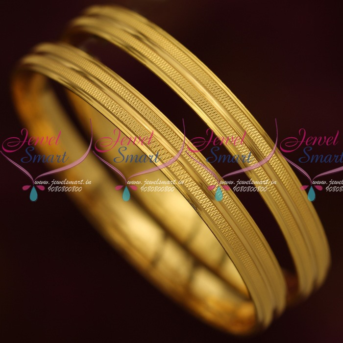b9f3ca05973ce4 B13879 Simple Neat Design 2 Pcs Set Daily Use Gold Plated Bangles South Indian  Jewelry Online