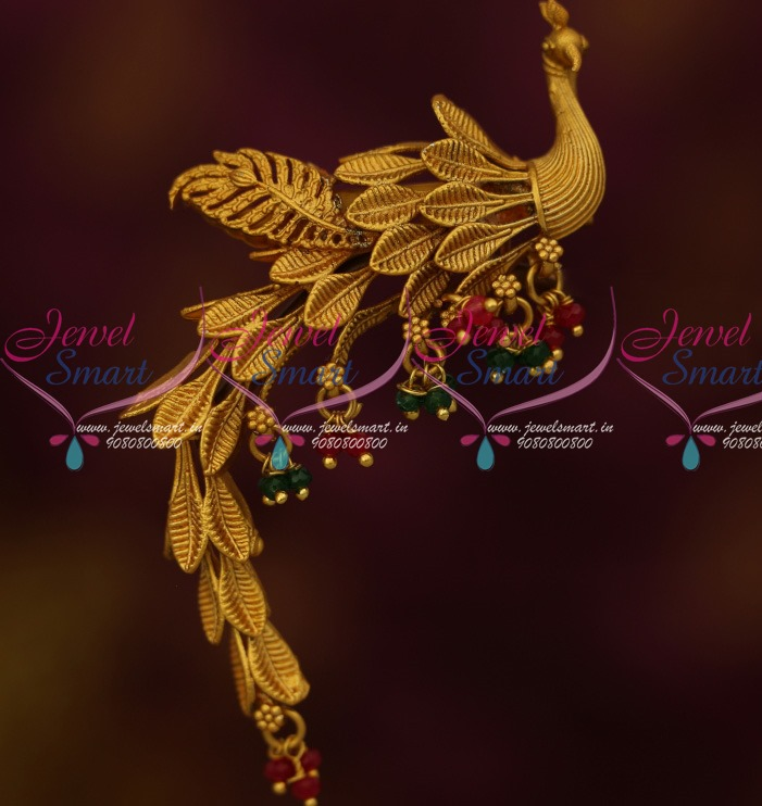 aa3fcd8593384 S13760 Peacock Design Wagging Tail Saree Pin Brooch Latest Matte Gold  Plated Jewelry Online