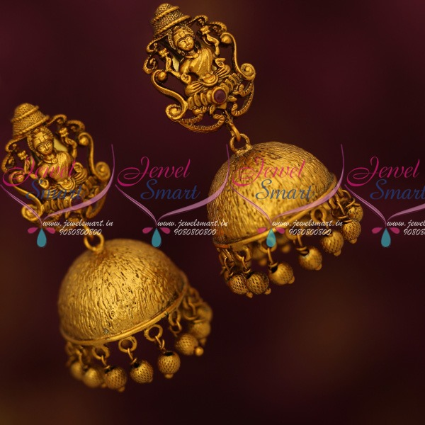 J13763 Temple Jewelry Antique Dull Reddish Gold Jhumka Earrings New  Traditional Designs Low Price