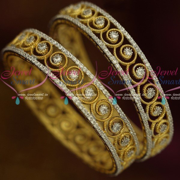 3d10ccb0bc8 B13652 Two Tone Gold Silver Plated Floral Design White Stone Bangles Latest  Imitation Jewelry Online | JewelSmart.in