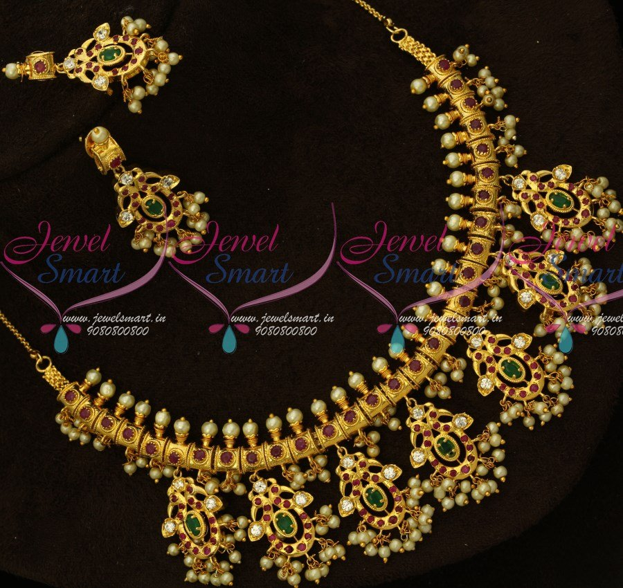 a9c6d309a2275 NL15082 Multi Color AD Stones One Gram Gold Jewellery South Indian Gutta  Pusalu Necklace