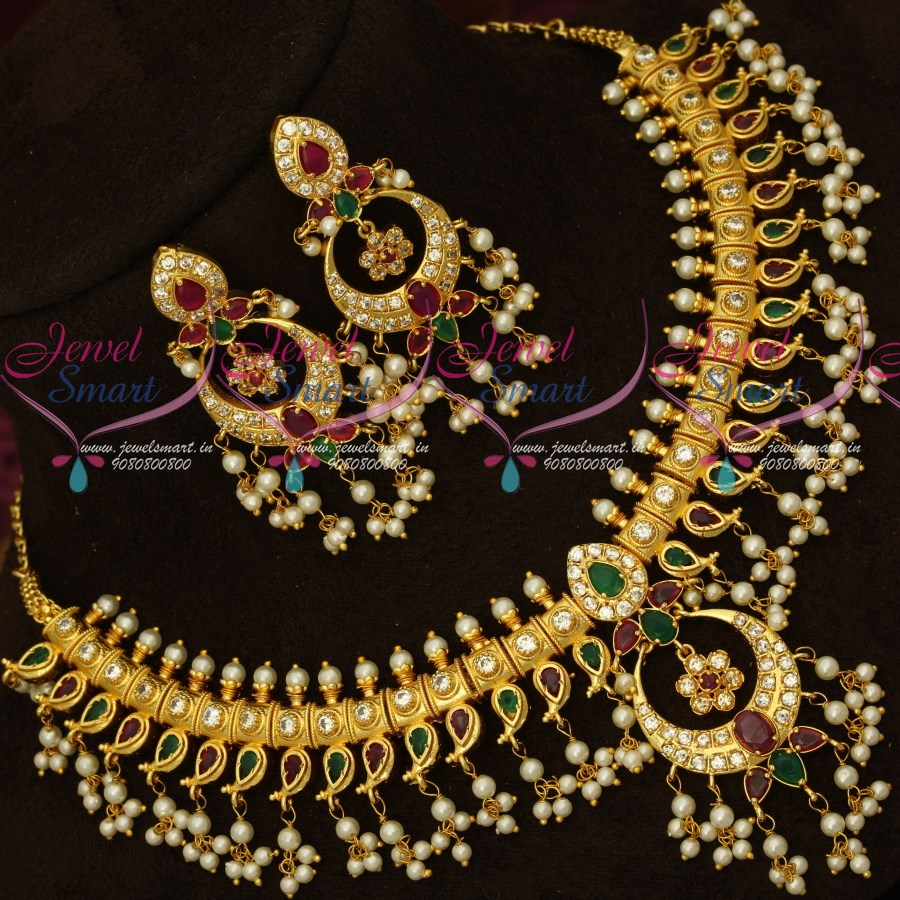 c697fa2060c85 NL16792 AD Stones Gutta Pusalu Pearl Jewellery Gold Plated Traditional  South Indian Designs