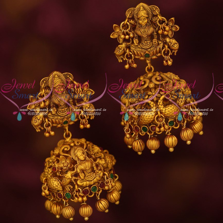 J17272 Antique Temple Jewellery Temple Big Bridal Jhumka Earrings Matte  Gold Finish Online