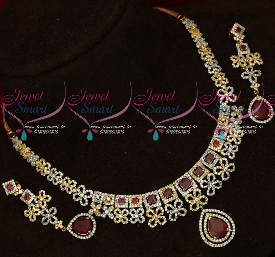 9ab54468a NL17752 Latest Design Two Tone Gold Silver Plated AD Necklace set Shop  Online | JewelSmart.in