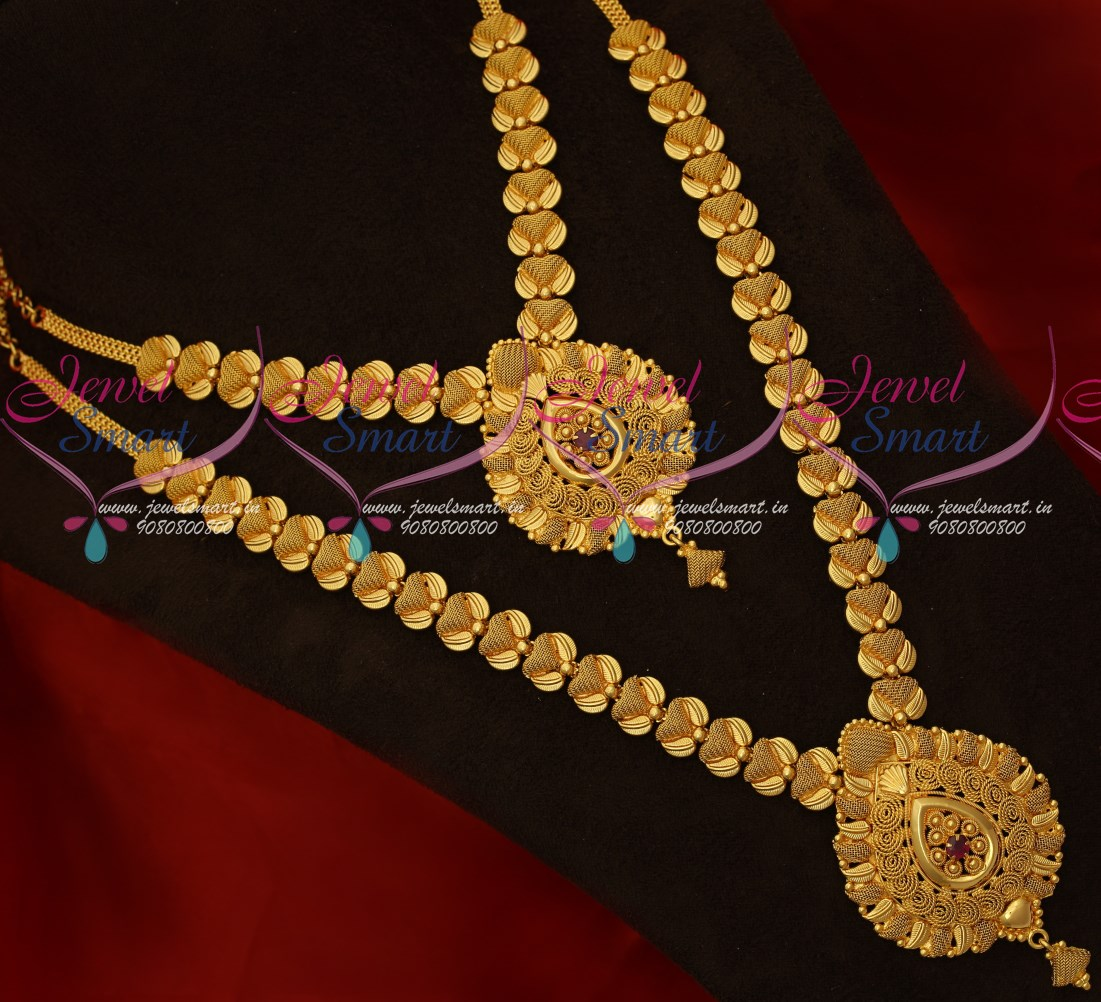7748ec35c9274 NL17806 South Indian Gold Covering Jewellery Latest Pattern Low Price  Necklace Long Combo Set
