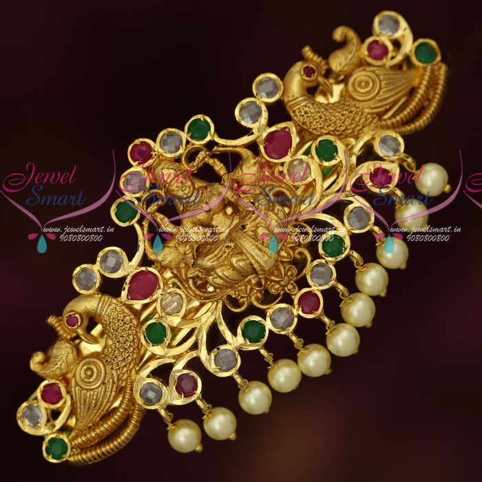 Wedding Kondai Hairstyle: H18192 Polki AD Multi Colour Stones Temple Matte Gold