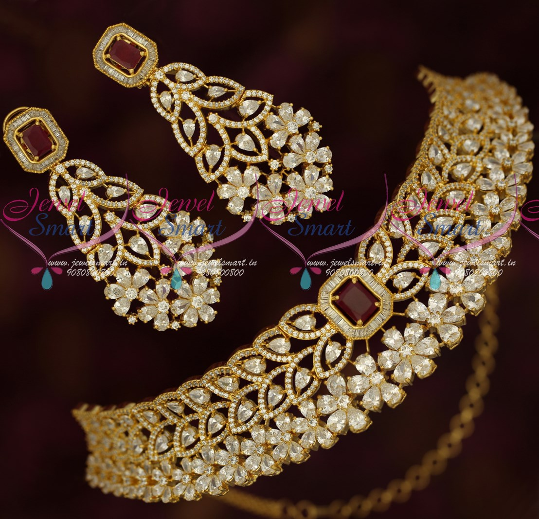 NL18231 Gold Plated Wedding Jewellery Designs Dazzling AD ...