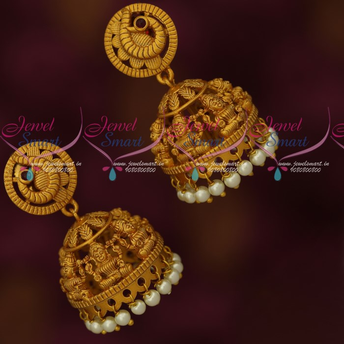 J18019 Temple Jewellery Matte Gold Plated Latest Traditional Design Jhumka  Earrings