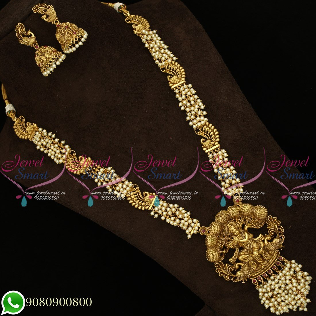 NL19472 Gold Plated Temple Jewellery Antique Matte Pearl Haram Traditional  Designs